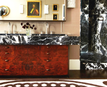 Burl wood sink on Domaine - saved by little luxury list