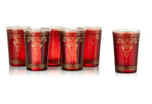 Moroccan tea glasses red with trim at One Kings Lane