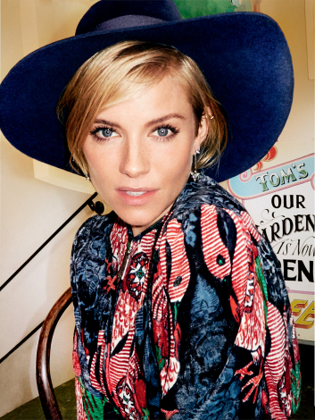 sienna-miller-Vogue january-2015 Louis Vuitton dress preston & Olivia hat