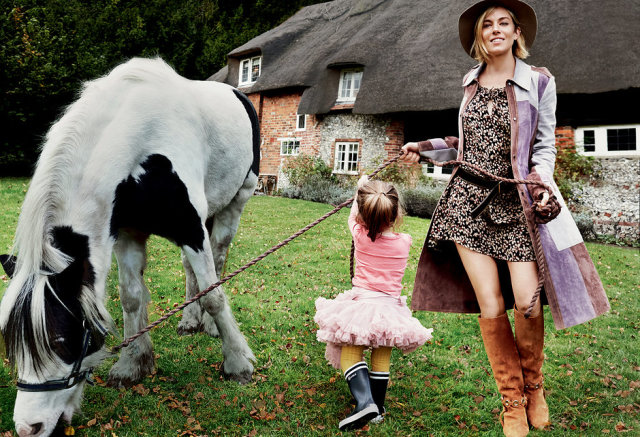 sienna-miller-Vogue january-2015 with daughter and pony