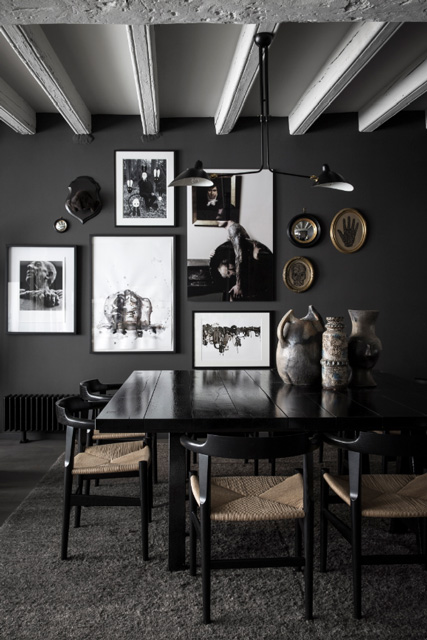 Maison hand interiors for Dark grey dining room