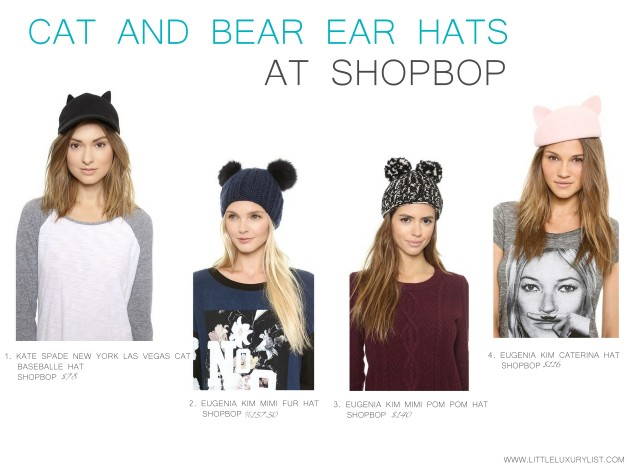 Cat and Bear ear hats at Shopbop by little luxury list