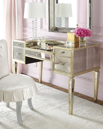 Shelly Vanity chair and Amelie mirrored vanity