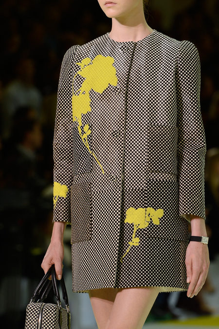 Gray coat with yellow flowers at Louis Vuitton Spring 2013 via Style.com - saved by little luxury list