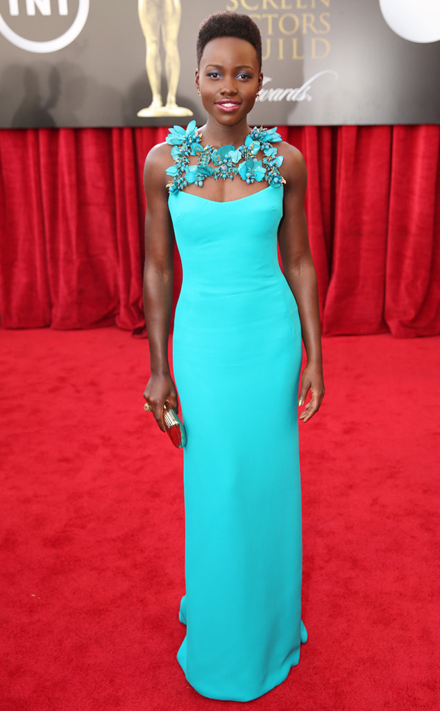 Aqua Lupita-Nyongo in Gucci at 2014 SAG Awards - saved by little luxury list