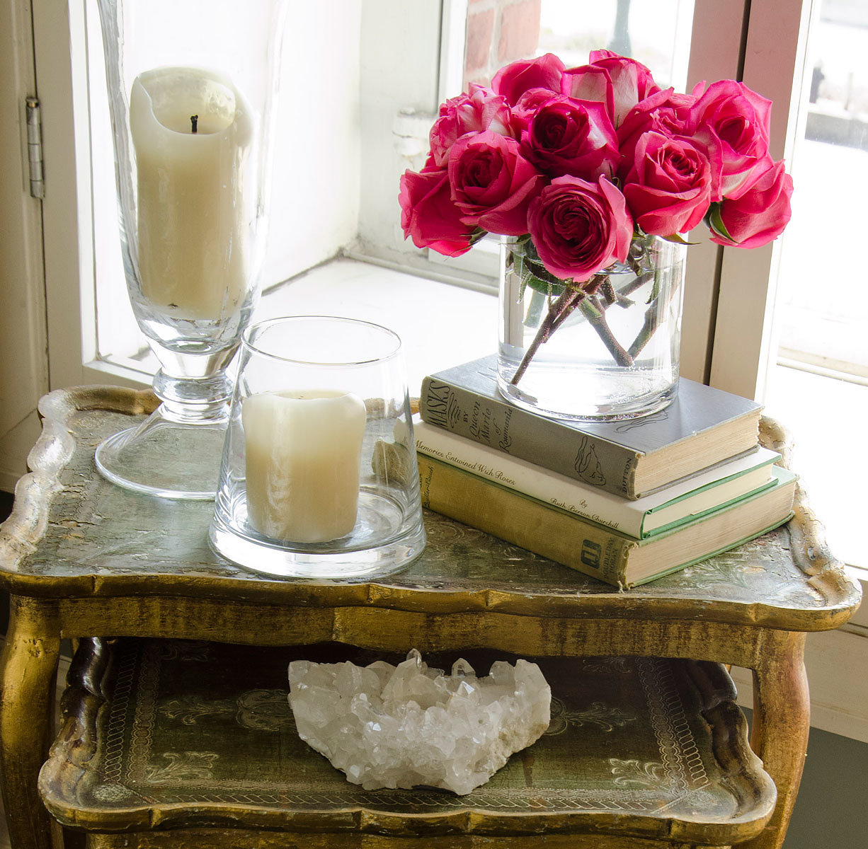 Erin Fetherston roses on table Tribeca home in Vogue