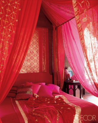 Pink Red and gold Marackech room ELLE decor - saved by little luxury list