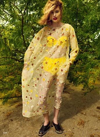 Ray of Light Jenna Castilloux in floral dress for Elle_Canada_May 2015