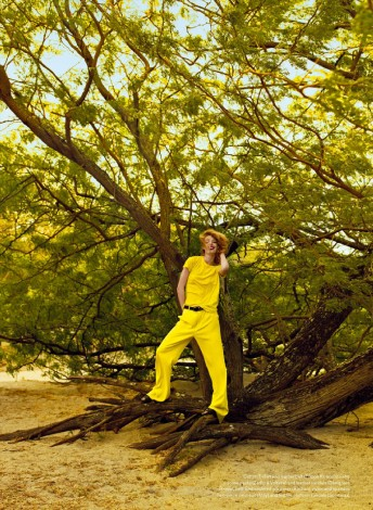 Ray of Light Jenna Castilloux in yellow top and pants for Elle_Canada_May 2015