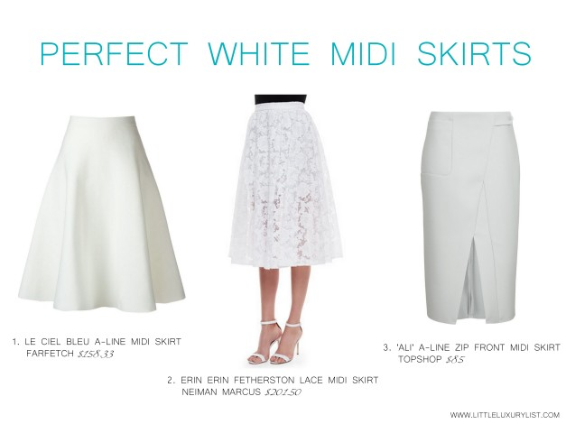 Perfect white midi skirts by little luxury list