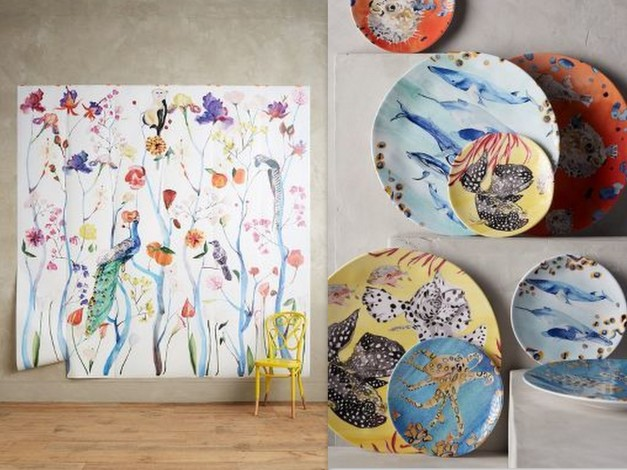 Voutsa for Anthropologie Garden Chinoiserie mural and under the sea dinner plate