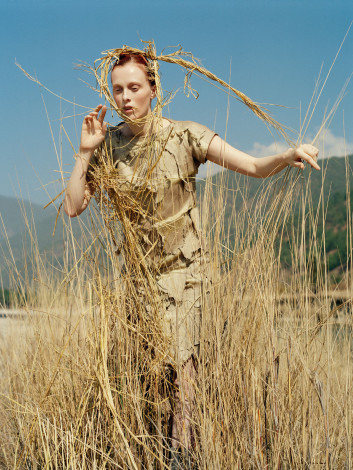 In the Land of Dreamy Dreams Karen Elson Loewe outfit shot by Tim Walker for UK Vogue May 2015