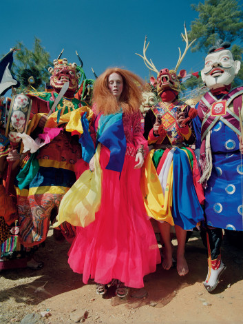 In the Land of Dreamy Dreams Karen Elson Molly Goddard outfit shot by Tim Walker for UK Vogue May 2015