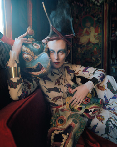 In the Land of Dreamy Dreams Karen Elson Stella McCartney outfit shot by Tim Walker for UK Vogue May 2015