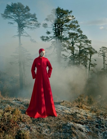 In the Land of Dreamy Dreams Karen Elson red gown shot by Tim Walker for UK Vogue May 2015