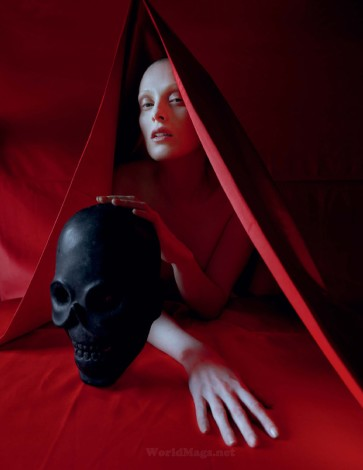 In the Land of Dreamy Dreams Karen Elson red hood shot by Tim Walker for UK Vogue May 2015