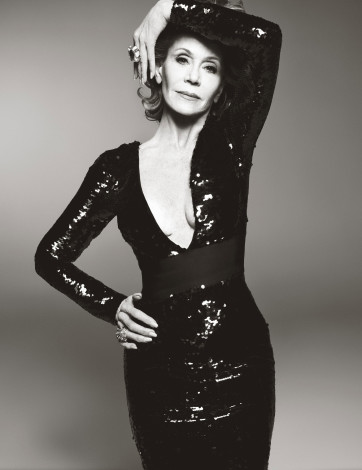 Jane Fonda in black dress shot by Steven Meisel for W Magazine June July 2015