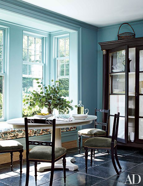 Baby blue breakfast area in CT home decorated by Miles Redd on Architectural Digest