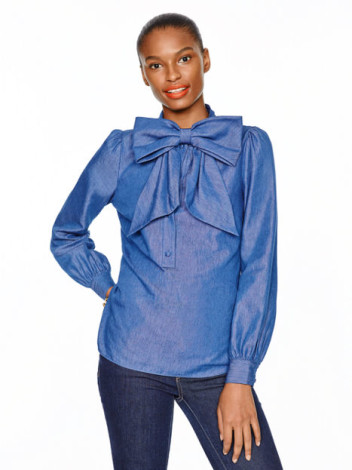 Kate Spade chambray bow blouse