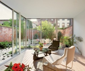 Patio 1840s Brooklyn Townhouse on Architectural Digest