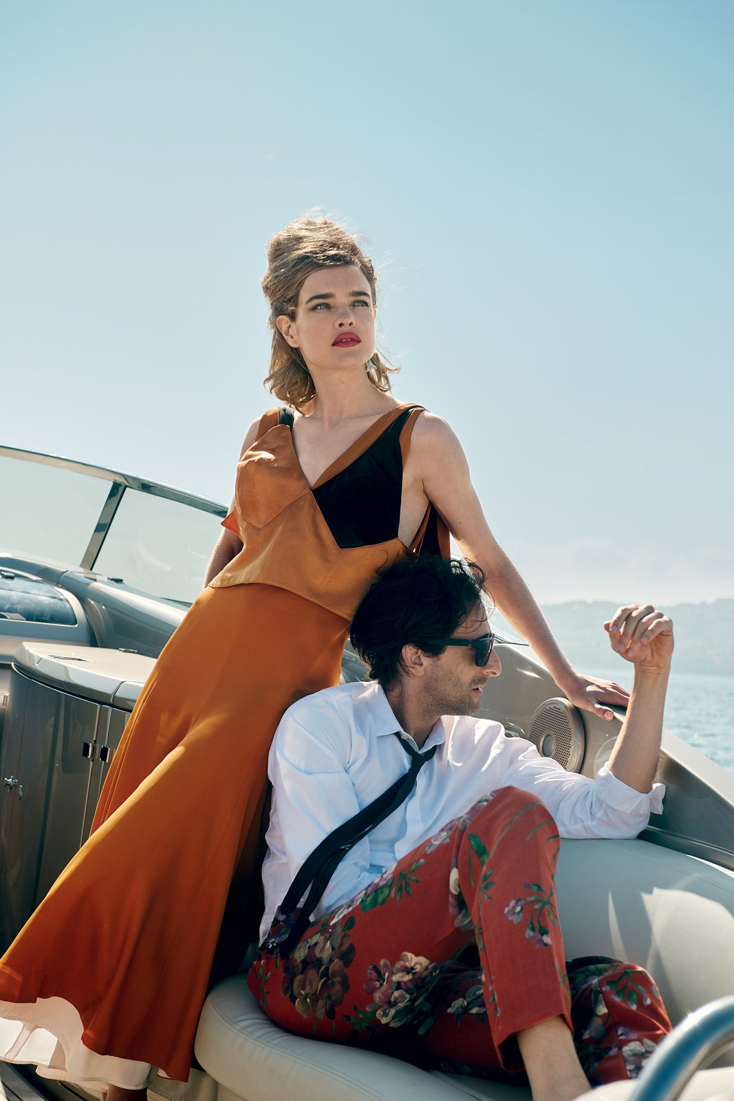 adrien-brody-natalia-vodianova-vogue July 2015 Celine crepe dress