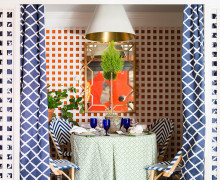 patio blue and white chevron chairs in Domino