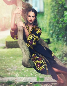 Alicia Vikander by David Bellemere for The Edit black and yellow gown