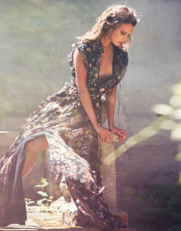 Alicia Vikander by David Bellemere for The Edit black chiffon gown