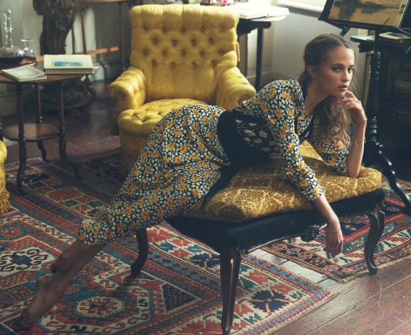 Alicia Vikander by David Bellemere for The Edit black yellow floral gown