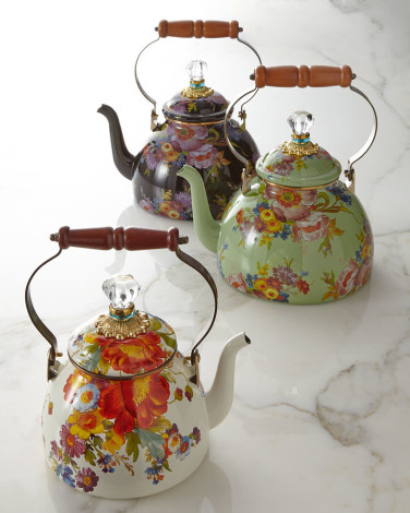 Mackenzie-Childs flower market three quart tea kettle