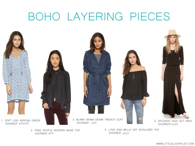 Boho layering pieces by little luxury list