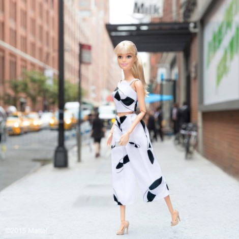 Barbie in Tibi floral particle cropped top and culottes