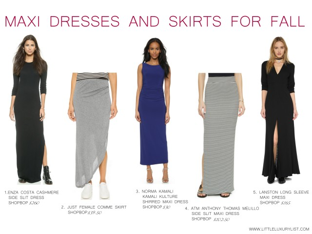 Maxi dresses and skirts for fall by little luxury list