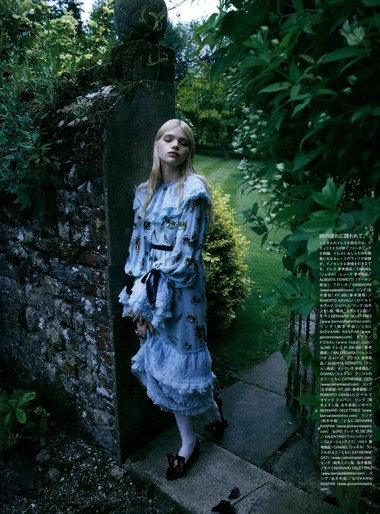 Stella Lucia True Innocence Vogue Japan December 2015 in blue dress