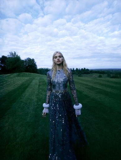 Stella Lucia True Innocence Vogue Japan December 2015 in sequin blue dress