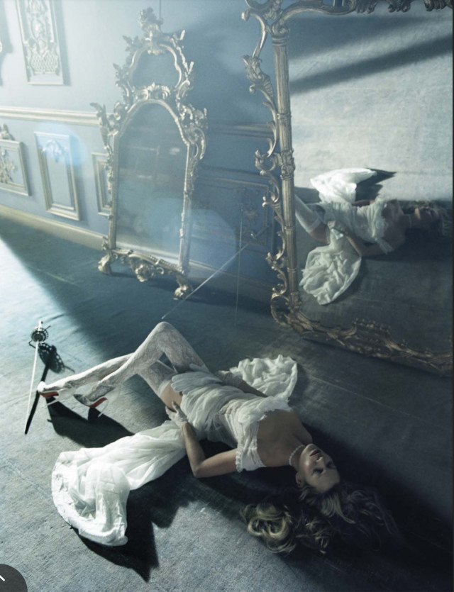 Beauty and the Beast white with Christian Louboutin pumps Kate Moss Tim Walker for Vogue Italia December 2015