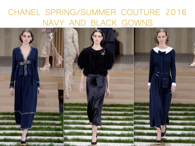 Chanel Spring Summer Couture 2016 navy and black gowns by little luxury list
