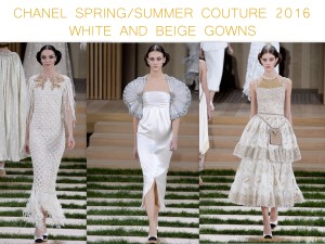 Chanel Spring Summer Couture 2016 white and beige gowns by little luxury list