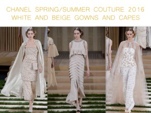 Chanel Spring Summer Couture 2016 white and beige gowns and capes by little luxury list