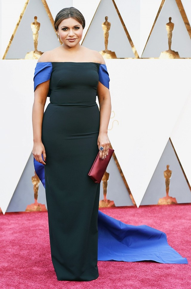 Oscars 2016 Best Dressed Mindy Kaling in black and blue Elizabeth Kennedy gown