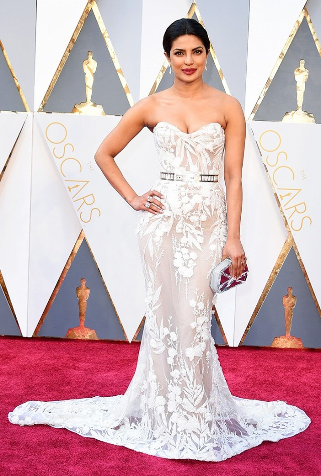 Oscars 2016 Best Dressed Priyanka Chopra in white lace caged Zuhair Murad