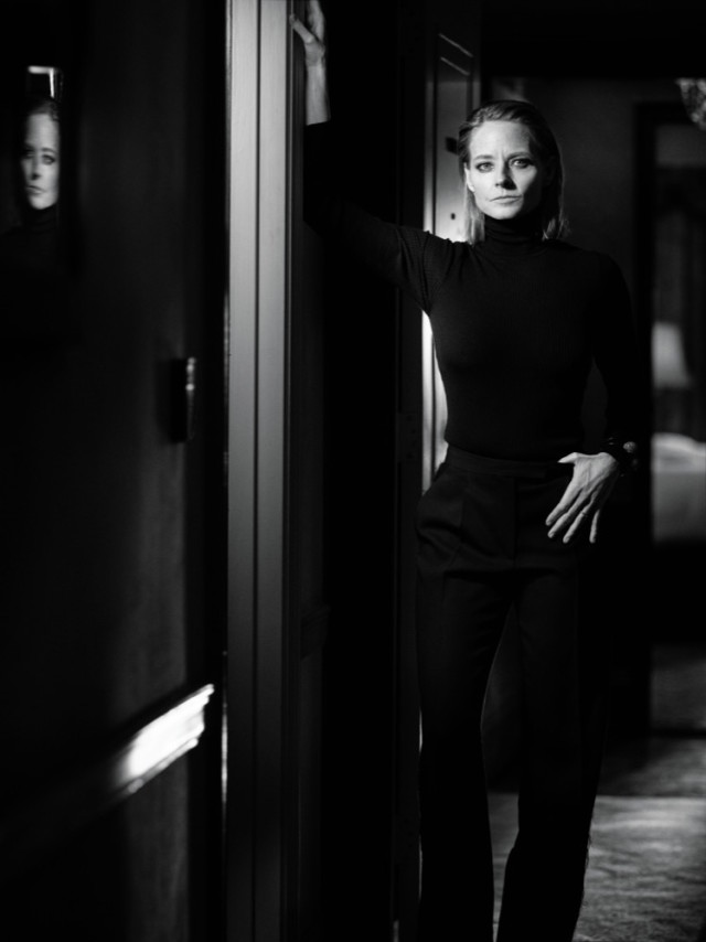 Jodie Foster reflection in Interview Magazine March 2016 shot by Mikael Jansson
