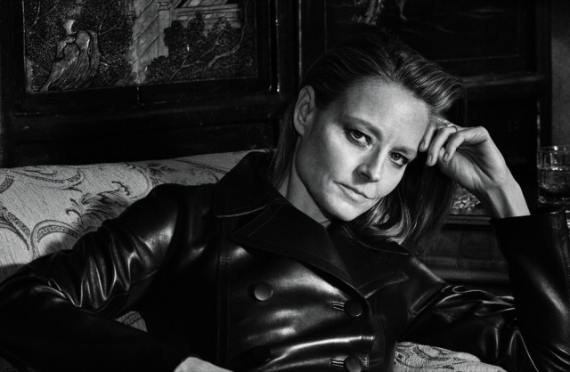 Jodie Foster wearing leather jacket in bed in Interview Magazine March 2016 shot by Mikael Jansson