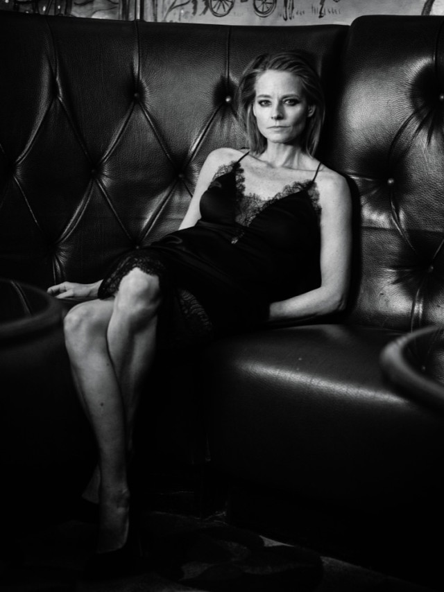 Jodie Foster wearing lingerie on sofa in Interview Magazine March 2016 shot by Mikael Jansson