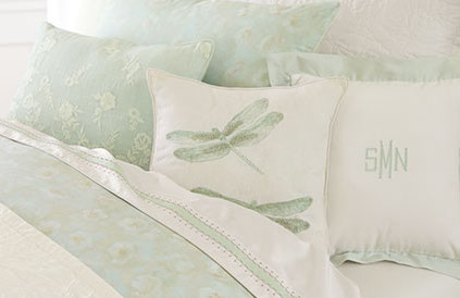 Monique Lhuillier and Pottery Barn Kids green pillows