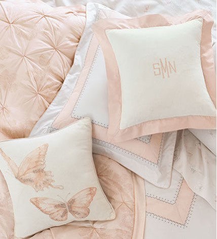 Monique Lhuillier and Pottery Barn Kids pink pillows