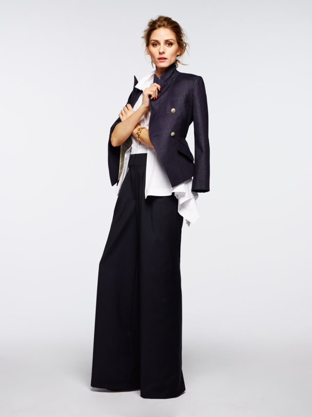 Olivia Palermo + Chelsea 28 denim blazer and wide leg trousers
