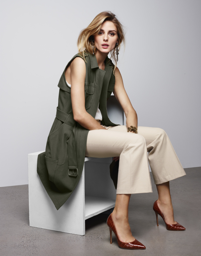Olivia Palermo + Chelsea 28 military vest and ankle flare twill pants