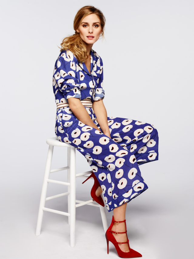Olivia Palermo + Chelsea 28 silk poppy shirt and culottes