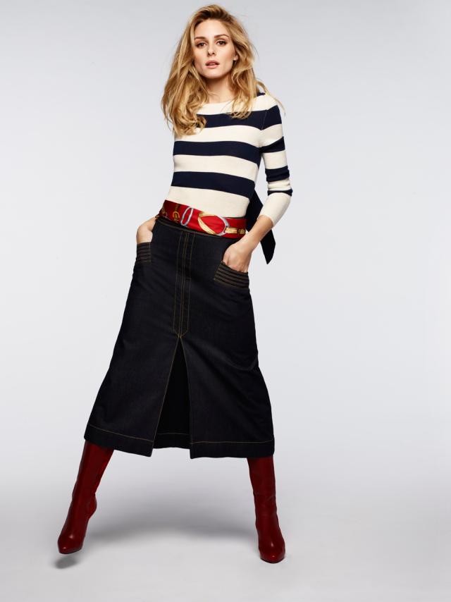 Olivia Palermo + Chelsea 28 stripe wool and cashmere pullover and retro denim midi skirt